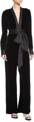 Diane von Furstenberg Velvet Long-Sleeve V-Neck Jumpsuit w/ Sash