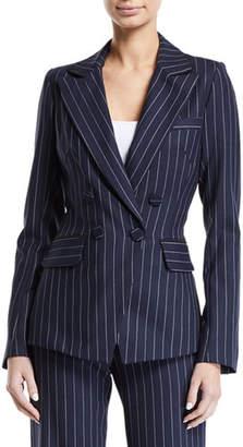 Jonathan Simkhai Tailored Pinstripe Hook-Front Blazer