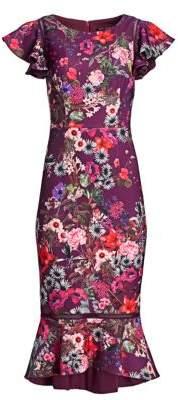 David Meister Floral Flounce Sheath Dress