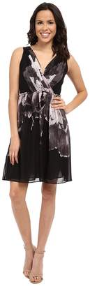 Adrianna Papell Deep V-Neck Gathered Waist Fit and Flare Dress Women's Dress