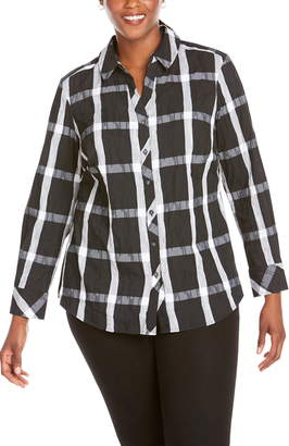 Foxcroft Mary Windowpane Wrinkle Free Shirt