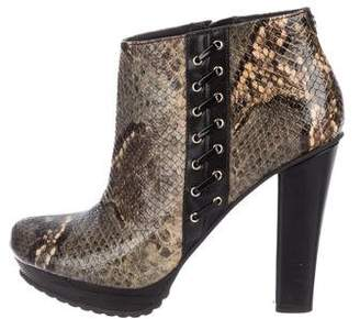 Just Cavalli Embossed Leather Ankle Boots