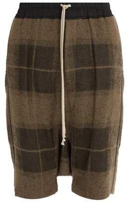 Rick Owens Pod Plaid Shorts - Mens - Brown