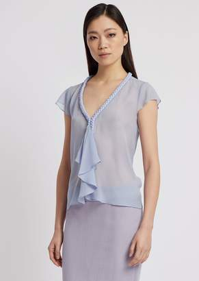 Emporio Armani See-Through Silk Georgette Top With Flounce