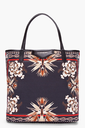 Givenchy Black Antigona Paradise Flower Tote
