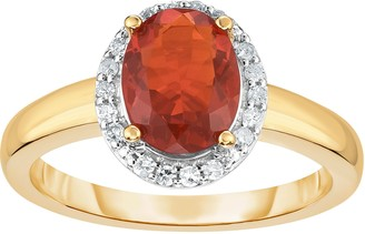 0.75 ct Fire Opal & 1/8 cttw Halo Ring, 14K Gold