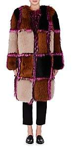 Osman Women's Amanon Plaid Fur Coat - Pink, Multi