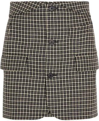 Helmut Lang Checked Wool Mini Skirt - Black
