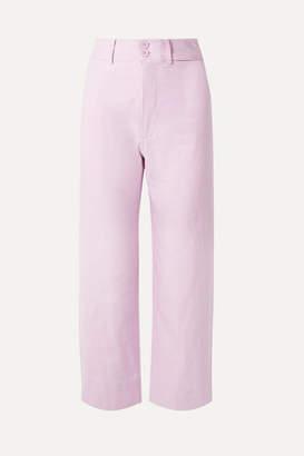 Apiece Apart Merida Cropped Cotton Wide-leg Pants - Lilac