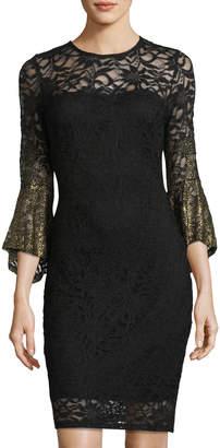 Marina Glitter Lace Bell-Sleeve Sweetheart Illusion Dress