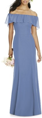 Women's Social Bridesmaids Ruffle Off The Shoulder Chiffon Gown $204 thestylecure.com