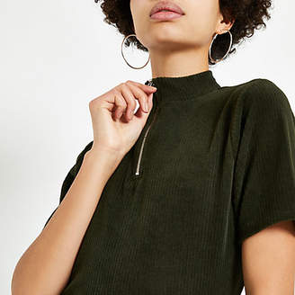 River Island Womens Khaki cord zip high neck T-shirt