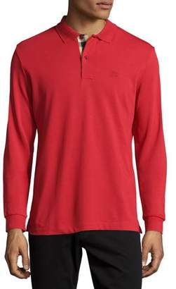 Burberry Long-Sleeve Oxford Polo Shirt, Red