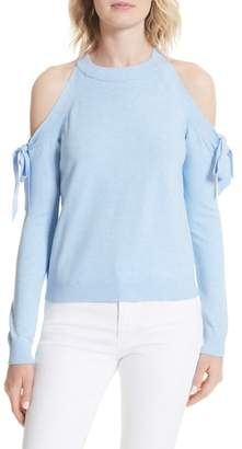 Milly Cold Shoulder Tie Sleeve Sweater