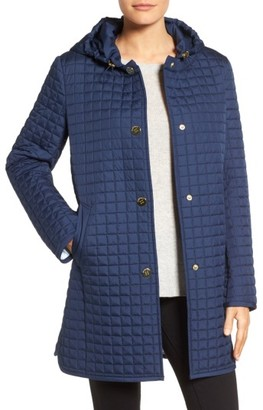 Women's Ellen Tracy Quilted Topper With Removable Hood $220 thestylecure.com