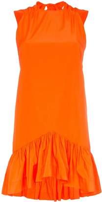 MSGM ruffle-hem bow-back cotton-blend dress