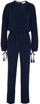 MICHAEL Michael Kors - Tasseled Crepe Jumpsuit - Blue $195 thestylecure.com