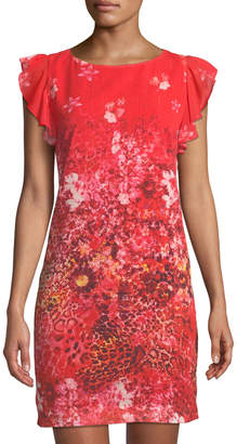 T Tahari Floral Animal-Print Ruffle-Shoulder Dress