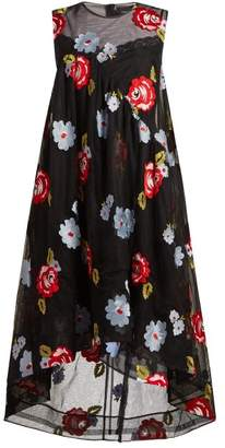 Simone Rocha Floral Embroidered A Line Tulle Dress - Womens - Black Multi