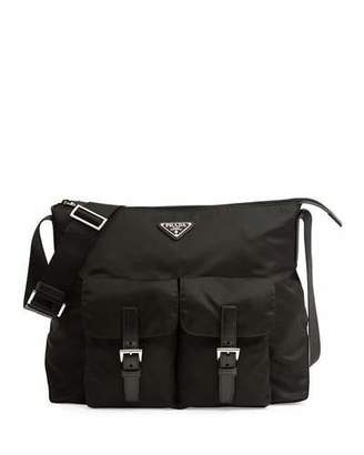 Prada Vela Double-Pocket Messenger Bag, Black (Nero) $990 thestylecure.com