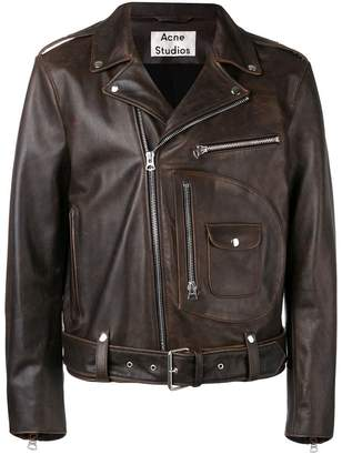 Acne Studios aged leather motorcycle jacket