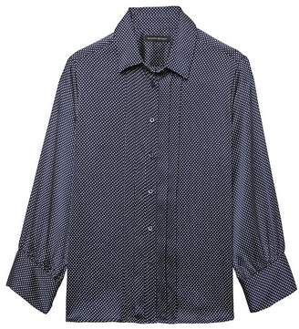 Banana Republic Quinn Boy-Fit Dot Pleat-Front Shirt