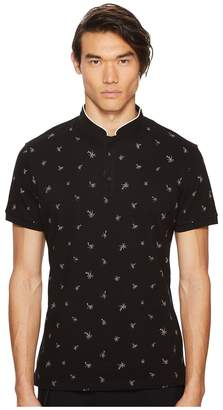 The Kooples Black Cotton Polo Shirt with Palm Tree Embroidery