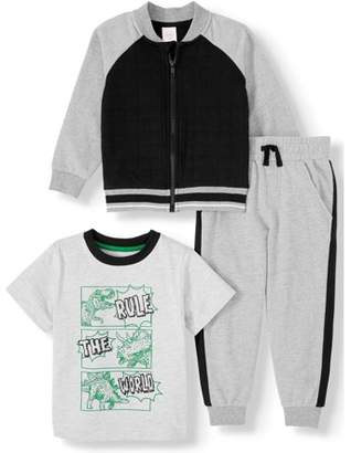 Wonder Nation Bomber Jacket, Short Sleeve Graphic T-shirt & Drawstring French Terry Joggers, 3pc Outfit Set (Toddler Boys)