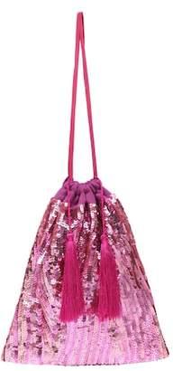 ATTICO Tasseled sequin pouch
