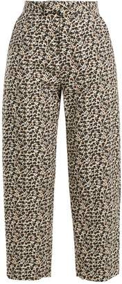Eckhaus Latta Floral Print Wool Blend Corduroy Trousers - Womens - White Multi