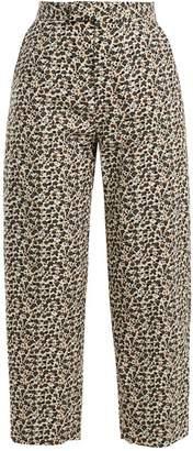 Eckhaus Latta - Floral Print Wool Blend Corduroy Trousers - Womens - White Multi