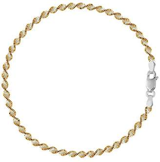 And Yellow Singapore Style Chain Anklet In Sterling Silver