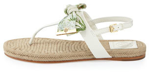 Tory Burch Penny Floral-Print Bow Thong Sandal