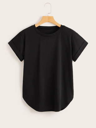 Shein Plus Round Neck Curved Hem Tee