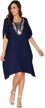 Belle By Kim Gravel TripleLuxe Knit Embellished Tassel Caftan
