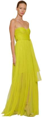 Maria Lucia Hohan Pleated Strapless Tulle Maxi Dress