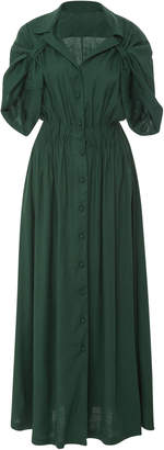 By Any Other Name Gathered Linen-Blend Maxi Dress