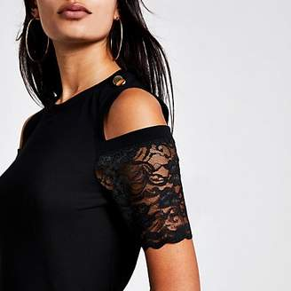River Island Black cold lace shoulder fitted T-shirt