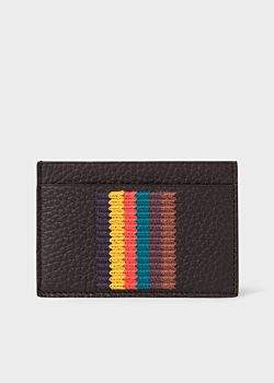 Paul Smith Men's Black Grained Leather Card Holder With 'Bright Stripe' Embroidery
