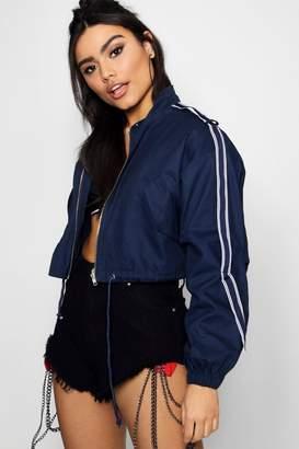 boohoo Emma Cropped Utility Jacket With Sports Tape