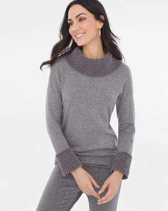 Zenergy Cotton Cashmere-Blend Chenille-Trim Sweater