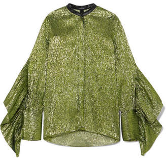 Petar Petrov Leather-trimmed Ruffled Silk-blend Lamé Blouse - Green