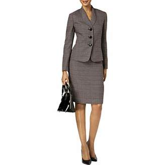 Le Suit Women's Crosshatch Tweed 3 Button Shawl Collar Skirt