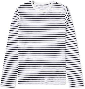 Save Khaki Long Sleeve Marine Stripe Crew Tee