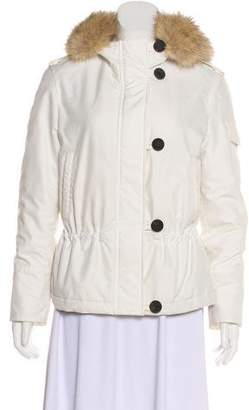 Burberry Fur-Trimmed Nova Check-Lined Jacket