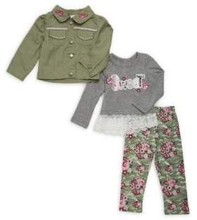 Nannette Baby Girl's Three-Piece Sweet Embellished Jacket, Top and Leggings Set