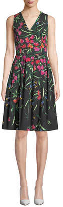 Carolina Herrera Sleeveless V-Neck Floral Pleated Dress
