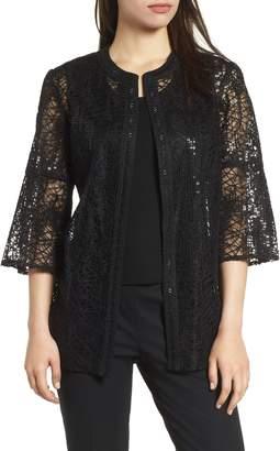 Ming Wang Embellished Mesh Jacket