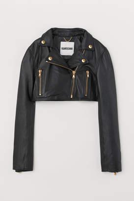 H&M Short Leather Biker Jacket - Black