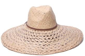 Ale By Alessandra 'Ale By Alessandra 'ale by alessandra Women's Verona Large Brim Open Weave Raffia Hat with Leather Trim